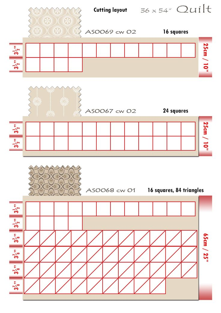 8 Iced Tea Collection Quilt cutting layout 1