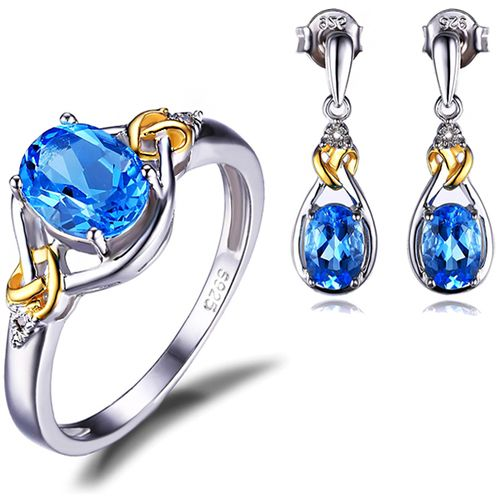 18K Gold Natural Blue Topaz Diamond 925 Sterling Silver Jewelry Set