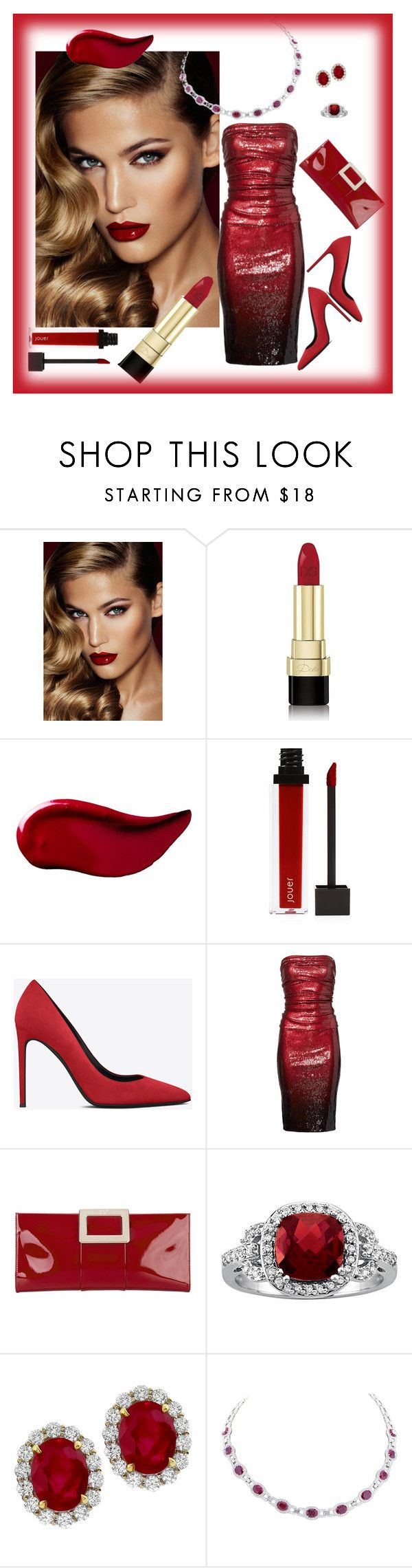 """""""Diamonds, Rubies and Red Hot Lips!"""" by nicole-trail ❤ liked on Polyvore featuring beauty, Charlotte Tilbury, Dolce&Gabbana, Kat Von D, Jouer, Yves Saint Laurent, Donna Karan and Roger Vivier"""