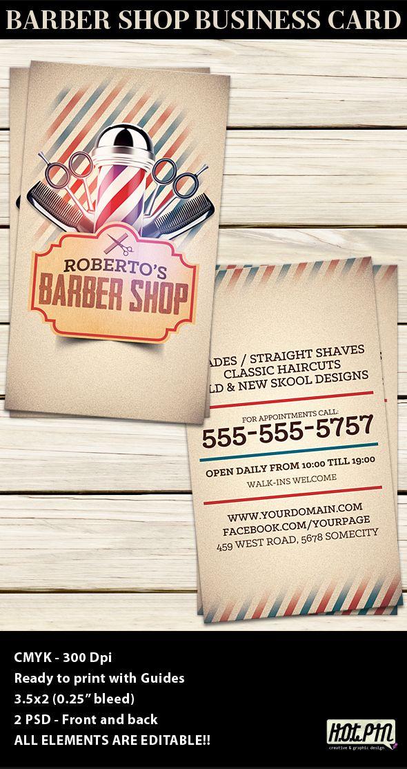 barber shop business card template barber shop card