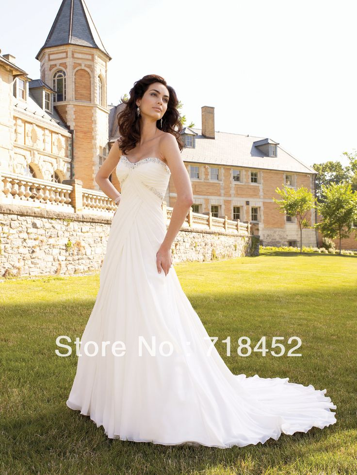 >> Click to Buy << Beach Style 2013 Wedding Dress Sweetheart  Bridal Gowns A-line Beaded Chiffon Chapel Train D219 #Affiliate