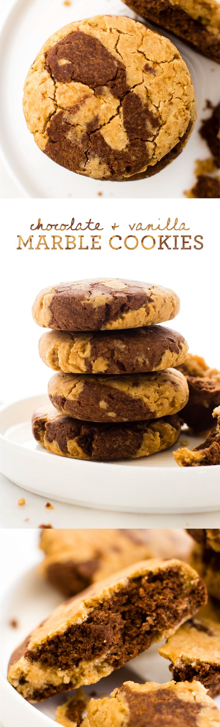With two kinds of cookie in every bite, these Chocolate Vanilla Marble Cookies are swirly soft-baked snacking at it's sweetest! Vegan, gluten-free, oil-free. via @Natalie   Feasting on Fruit