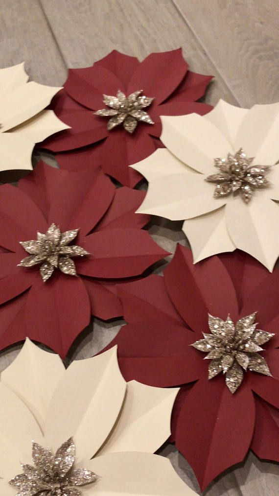 Set of 8 Paper Poinsettias