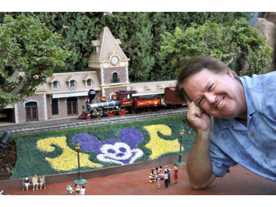 Architect Dave Sheegog built a replica of the main entrance to Disneyland in his backyard railroad in Anaheim. Sheegog has spent nearly 10 years scratch-building the structures and Disneyland locomotives.