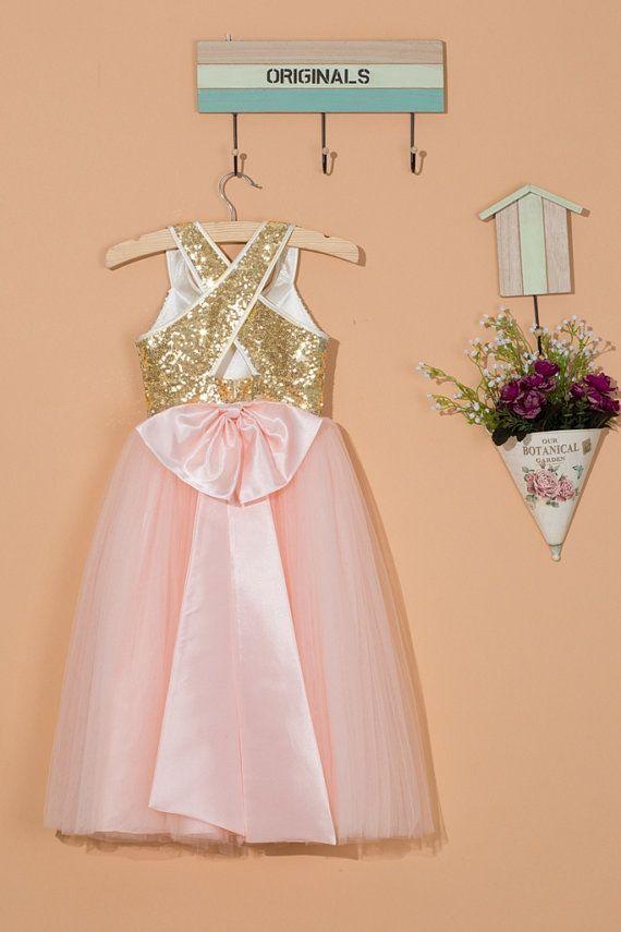 c82e79cc797 Gold flower girl dress pink tulle flower girl dress gold sequin pink ...