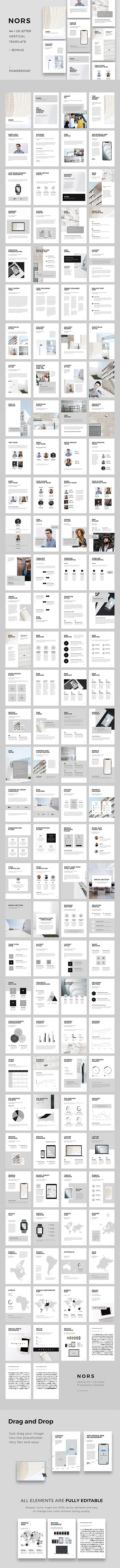 NORS - Vertical A4 + US Letter Powerpoint + Bonus: 20 Stock Photos & 4 Psd MockupsClean, modern and minimal Vertical Powerpoint Template in A4 & US Letter Printable Format. This layout gives you many possibilities of creativity. Perfect for Presentation…