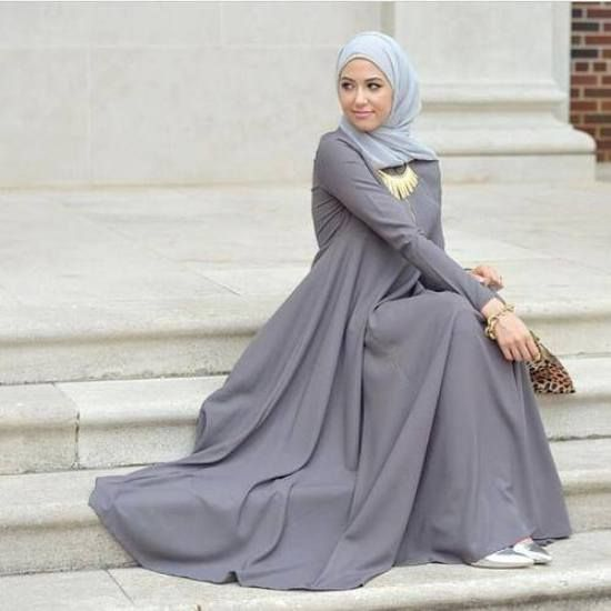 grey maxi hijab dress, Winter hijab street styles by leena Asaad http://www.justtrendygirls.com/winter-hijab-street-styles-by-leena-asaad/