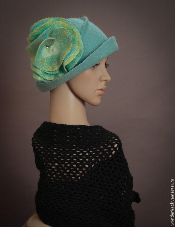 """Купить Шляпка """"Рассветный ветерок"""" - мятный, валяная шляпка, шляпка валяная, шляпка, женская шляпка"""