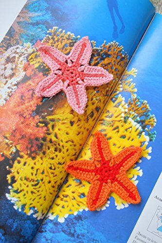 Crochet Applique Starfish crocheted sewing accessory Sewing craft Beach theme embellishment baby kids nursery Nautical ocean sea Beach wedding decoration party favors Set of 2