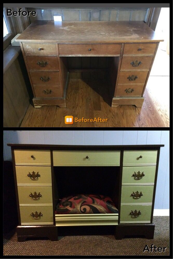 Before and after of built in dog bed with storage