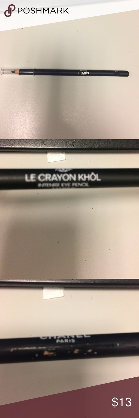 Chanel eyeliner new Le Crayon Khol intense eye pencil #63 Marine.  never used, however it is scratched as u can see in pic #3. CHANEL Makeup Eyeliner