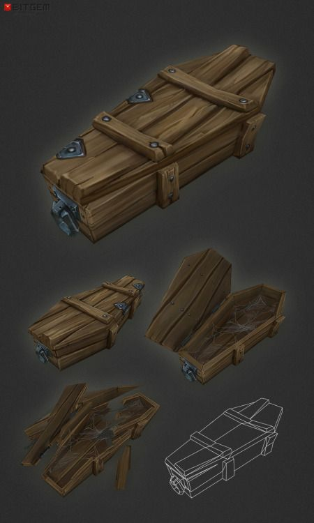 "Low Poly Coffin Add a professional touch to your game project with this low poly, hand painted wooden coffin. You should find this items easy to reshape and alter as needed or it can just be used as is. The coffin comes with an ""open"" (frames 1-14) ""close"" (frames 14-25) and vibrate (frames 30-40) animation"