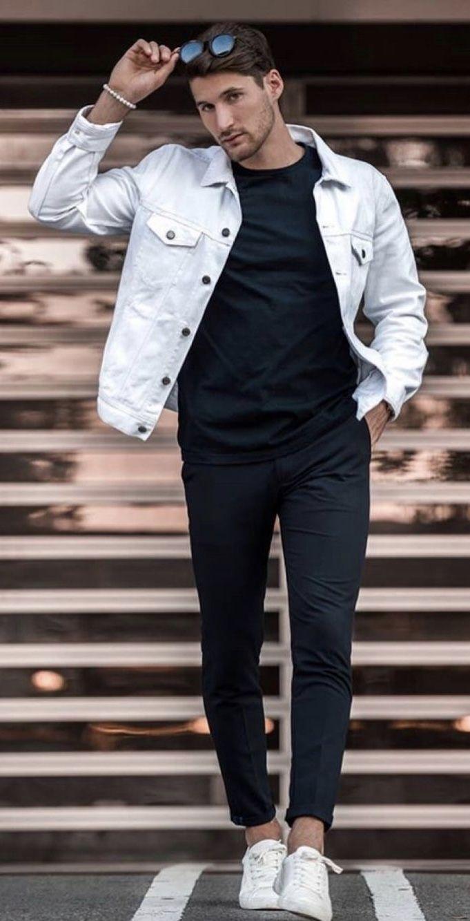 Fall Monochrome Inspiration With A White Denim Jacket Black T Shirt Black Denim Sung Ropa De Moda Hombre Moda Para Hombre Casual Ropa De Hombre Casual Elegante [ 1333 x 681 Pixel ]