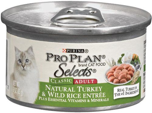 23 49 24 99 Pro Plan Selects Classic Canned Cat Food Adult Natural Turkey And Wild Rice Entree Pack Of 24 3 Ounce Cans Pro Plan Selects Wet Cat Food Is D
