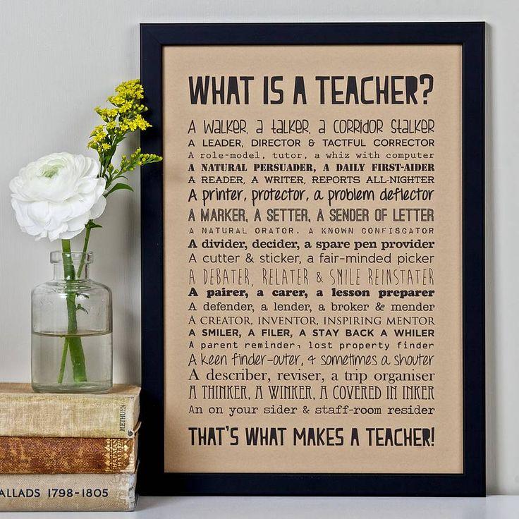 'what is a teacher?' poem print vintage style by bespoke verse | notonthehighstreet.com