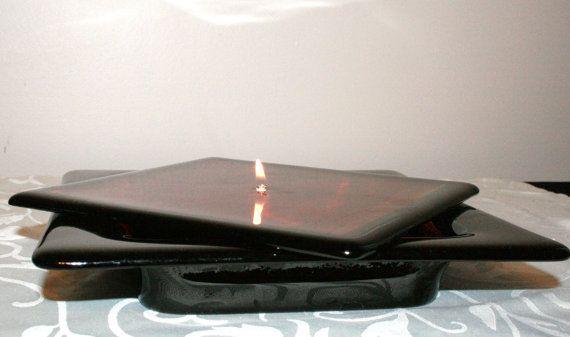 Μαύρο Κομμένες με Streaky Red Λιωμένο γυαλί πετρελαίου από DragonfliesCeilidh