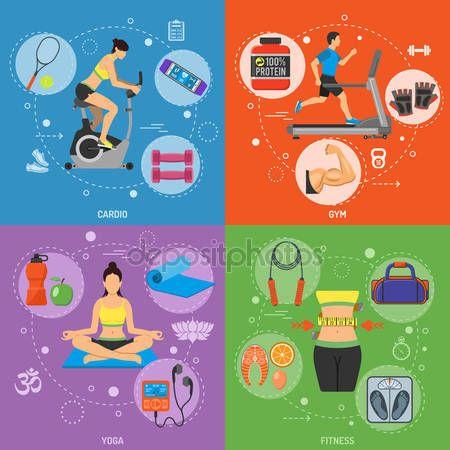 ダウンロード - エアロバイク、トレッドミル、ガジェット、モバイル アプリケーション、Web サイト、フィットネス、ジム、有酸素運動、ヨガ、健康的なライフ スタイルのバナー広告 — ストックイラストレーション #107601512