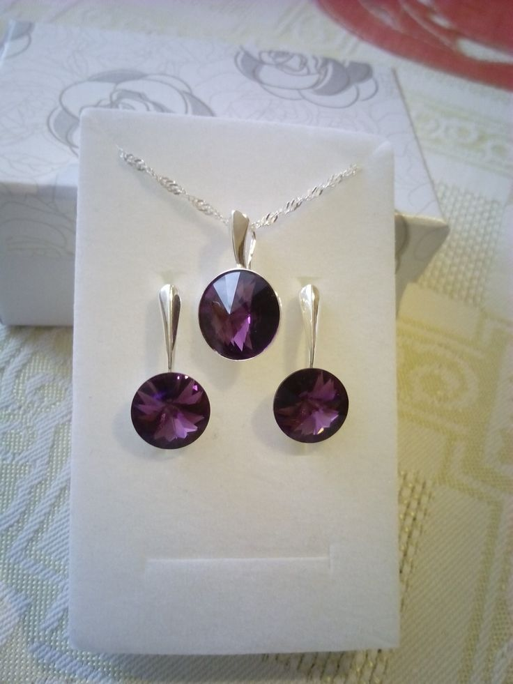 Sterling silver jewelry set with Swarovski crystals.