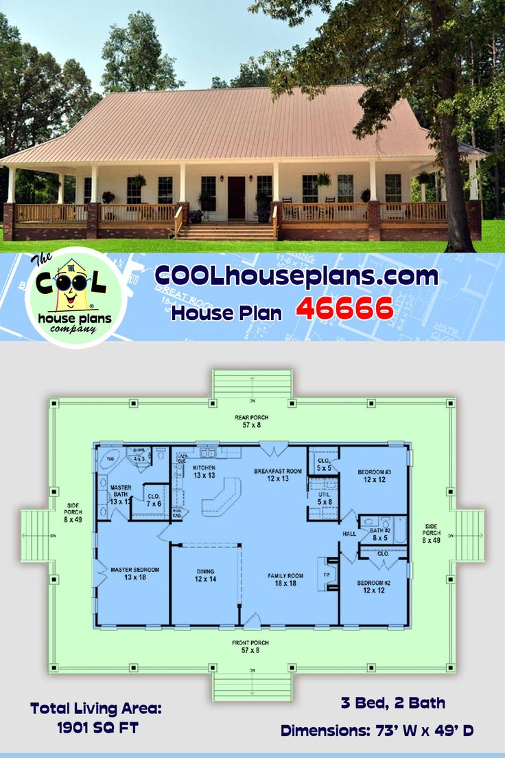 Southern Style House Plan 46666 with 3 Bed, 2 Bath in 2020