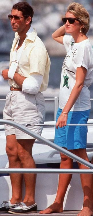 I have always loved both of their outfits in this picture. I love going barefoot like Diana and I love boat shoes like Charles'!