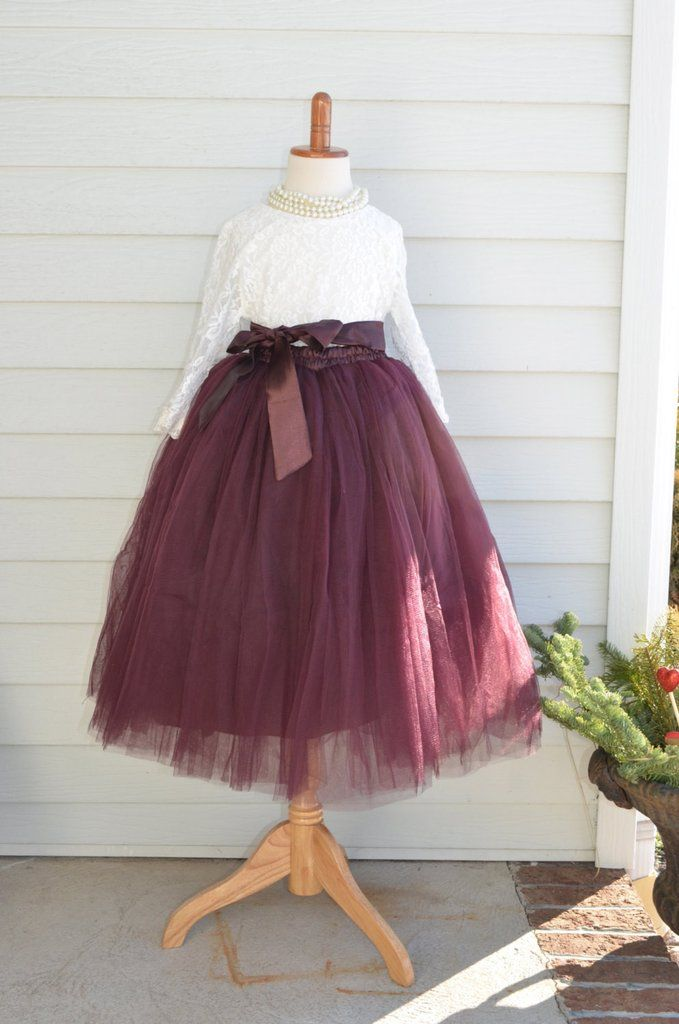 Flower girl Plum Eggplant Tutu, Purple Eggplant Long Tulle Skirt, Purple Tutu, Maroon Wine wedding