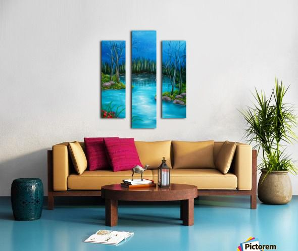 Autumn, scene, forest, river, landscape, trees, fine art, oil painting, decor items, triptych, 3 split, stretched, canvas, multi panel, prints, for sale
