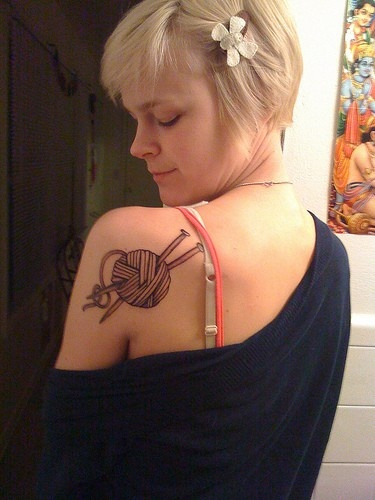 @Lorena Morgan tatt idea? LOL :): Tattoo Ideas, First Tattoo, Awesome Tattoo, Knits Awesometattoo, A Tattoo, Knits Tattoo, New Tattoo, Shoulder Tattoo, Knitting Tattoo