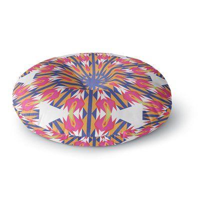 "East Urban Home Miranda Mol 'Modern Dutch Tulips ' Round Floor Pillow Size: 26"" x 26"""