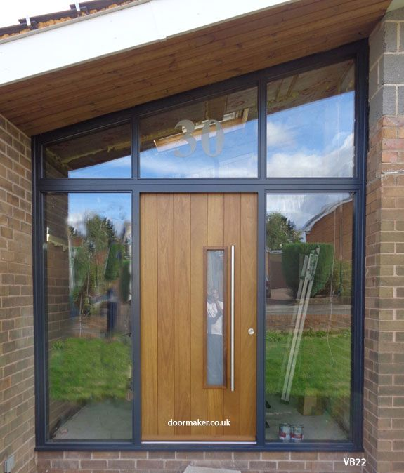iroko contemporary door and sloped frame