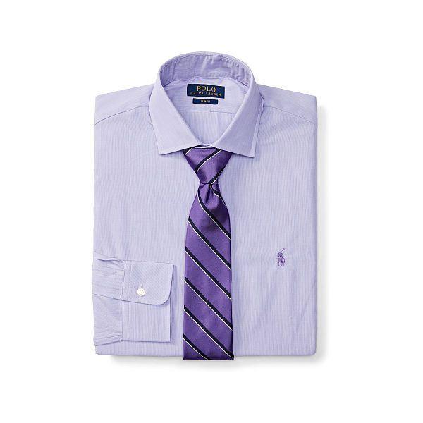 Polo Ralph Lauren Slim-Fit Cotton Dress Shirt ($99) ❤ liked on Polyvore featuring men's fashion, men's clothing, men's shirts, men's dress shirts, mens cotton shirts, mens shiny dress shirts, mens embroidered shirts, mens embroidered dress shirts and mens dress shirts