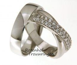 Diamant-Magnifieke trouwringen van witgoud met schitterende diamanten