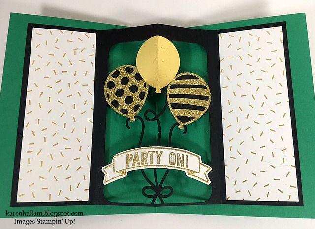 SU! Balloon Adventures stamp set, Balloon Pop-Up Thinlits dies (inside of card) - Karen Hallam