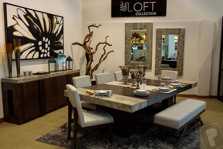 Colección Loft. Comedor Hamburgo: mesa rect. 62967, buffet 62968, silla Dubai 63215, banca Dubai 63217, espejo 64594, arbol tronco 63600  #PlacenciaMuebles