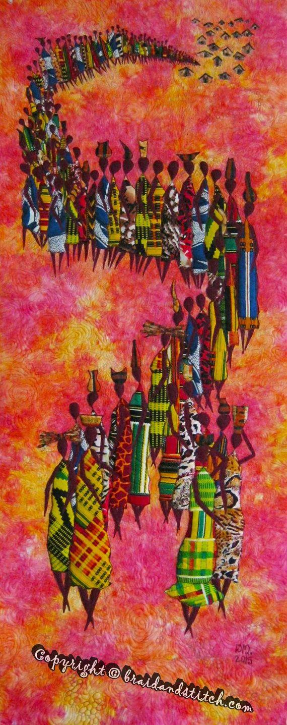 NIEUWE Afrikaanse zon art quilt klaar om te verzenden!  Afrikaanse vrouwen werken zo hard om hun gezinnen bij elkaar houden en te voldoen aan hun behoeften, de vrouwen verkopen op lokale levensmiddelenmarkten, ga naar de rivier de kant dagelijks, en zijn thuis in de tijd naar de moeders en de avondmaaltijd te bereiden.  Afrikaanse vrouwen zijn zeer nijver volk, en In de Afrikaanse samenleving, wanneer u een man opvoeden je lift een individu, maar wanneer u een vrouw opvoeden je lift een heel…