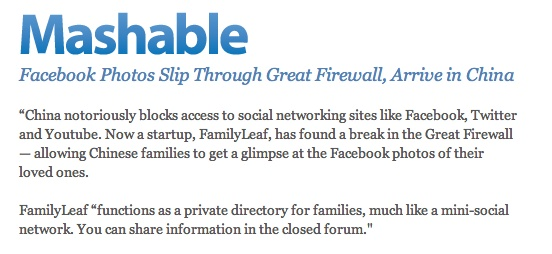 FamilyLeaf, has found a break in the Great Firewall — allowing Chinese families to get a glimpse at the Facebook photos of their loved ones.
