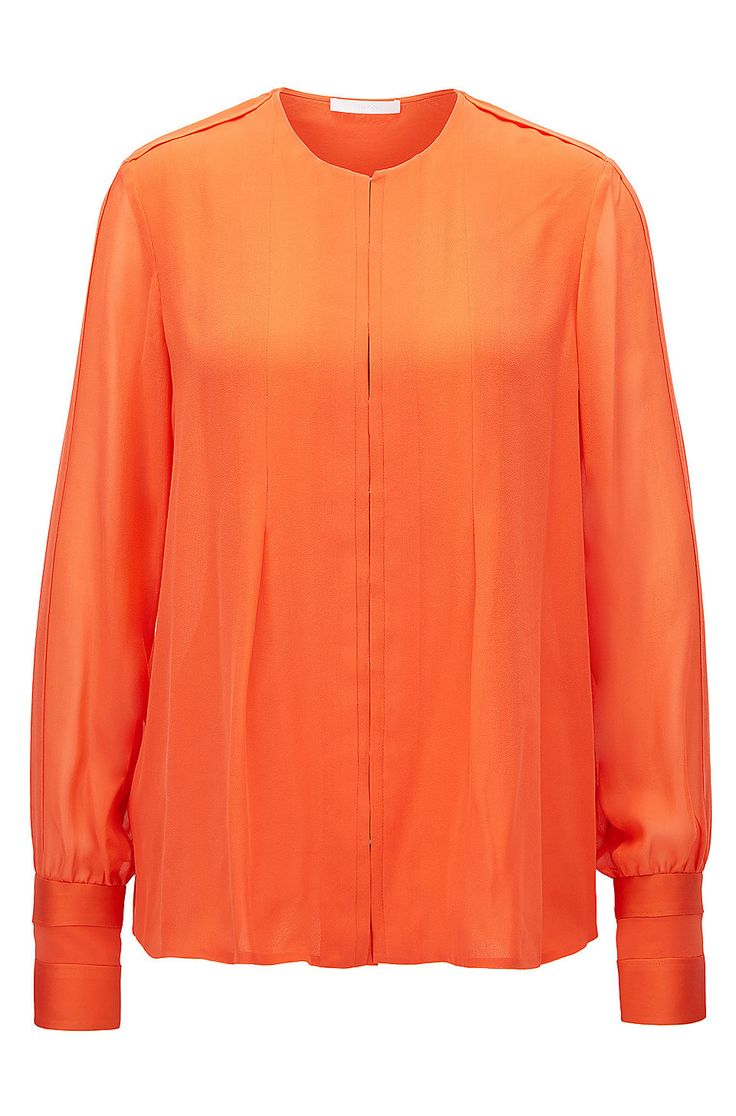 Gallery Collection regular-fit silk blouse Orange from BOSS for Women in the official HUGO BOSS Online Store free shipping