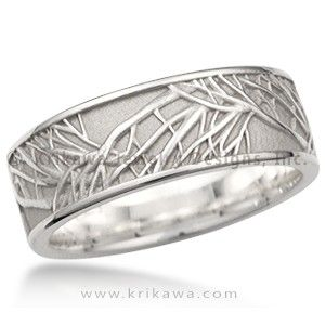 Tree of Life Eternity Wedding Band - This is the matching men's wedding band to the Tree of Life Engagement Ring. A similar branch pattern repeats and overlaps around this ring. The recesses can be darkened to create contrast between the tree and background.  The mens and womens ring are both incredible. So want!