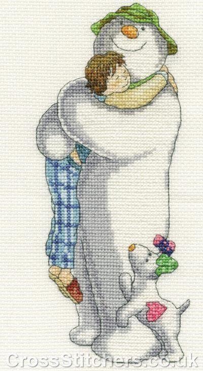 Group Hug - The Snowman by Raymond Briggs - DMC Cross Stitch Kit