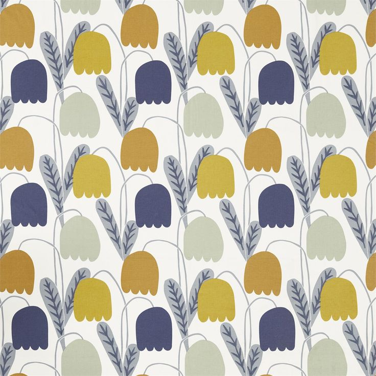 Scion Noukko Coll. Fritilla. A bold floral printed fabric of a Fritilla wild flower, with additional embroidery on the leaves. Available in five colours