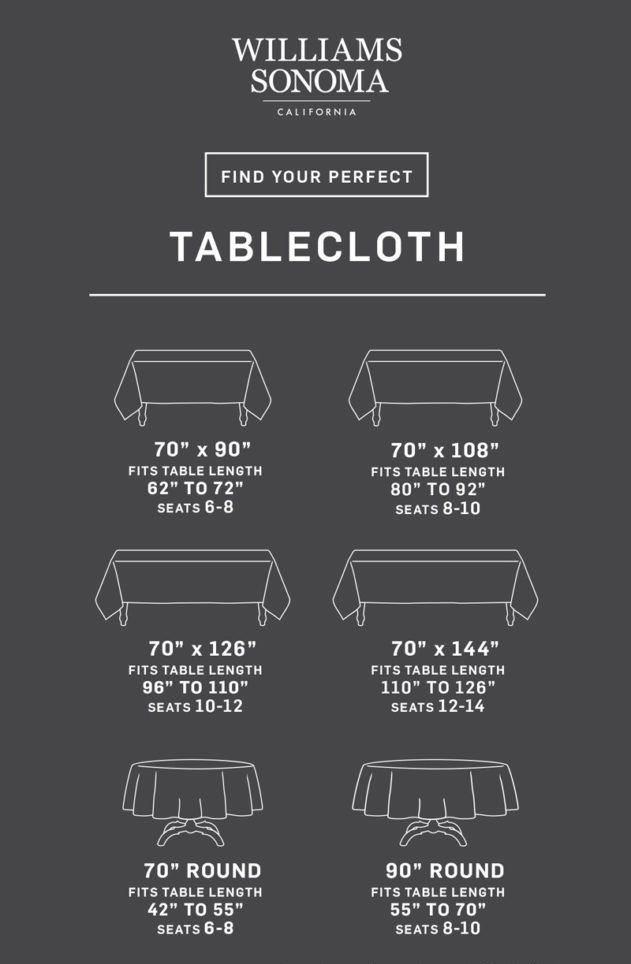 Tablecloth Size Calculator Williams Sonoma Taste Tablecloth Size Chart Tablecloth Sizes Table Cloth