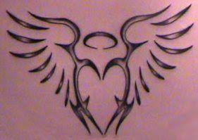 Tribal angel tattoo