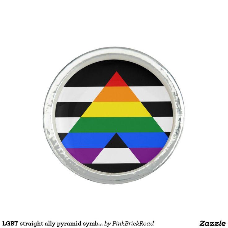 LGBT straight ally pyramid symbol Photo Ring