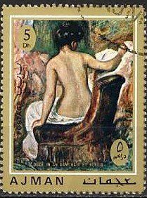 Stamp: Nude in an armchair (Ajman) (Paintings of the Impressionist Auguste Renoir (1841-1919)) Mi:AJ 857A