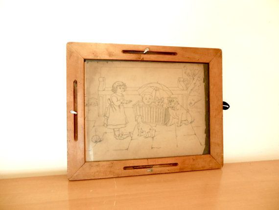 Antique School House Sketch Tablet Tracing Board by FreewheelFinds