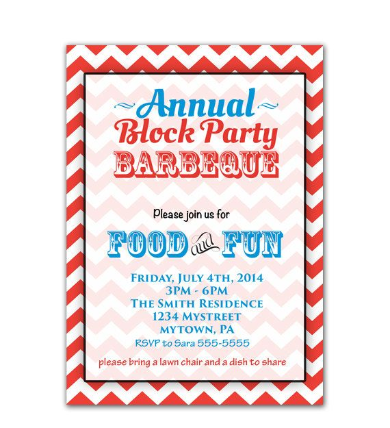 Annual Block Party Barbeque Cook Out 4th Of July Backyard Bbq Invitation Patriotic Blue Red