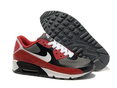 Il Migliore Nike Air Max 90 Hyperfuse in Linea Rosso Grigio Nero Scarpe con Lo Sconto