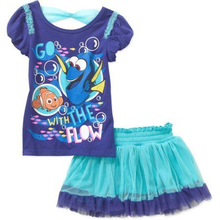 Finding Dory Toddler Girl Tee and Scooter Set, Size: 25 Months, Blue