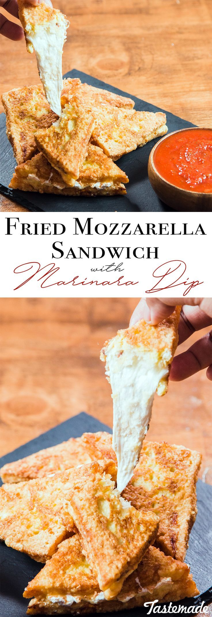 This cheesy fried sandwich is the delicious love child of mozzarella sticks and grilled cheese.