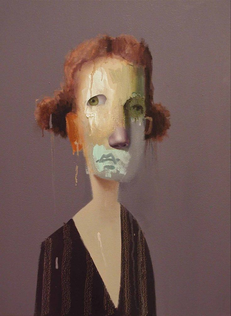 painting ed valentine untitled portrait with orange drip and blue green