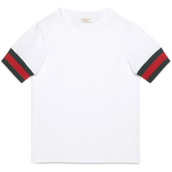 web - trim gucci tee found on Polyvore featuring tops, t-shirts, shirts, white shirt, gucci tops, gucci, gucci shirts, white top and gucci t shirt